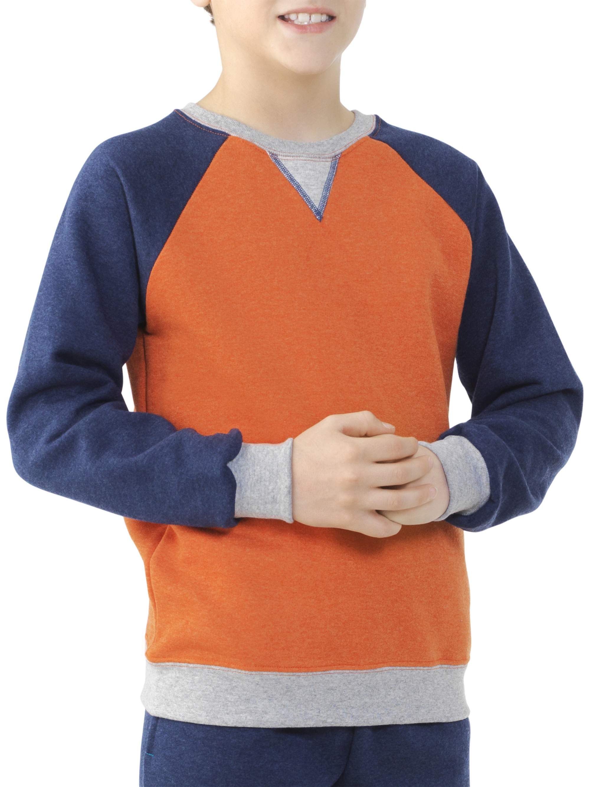 Boys' Explorer Fleece Super Soft Raglan Crew Neck Sweatshirt