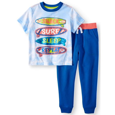Toddler Boys' T-Shirt and Jogger Pants, 2-Piece Outfit Set - Toddler Boy Valentine Outfit