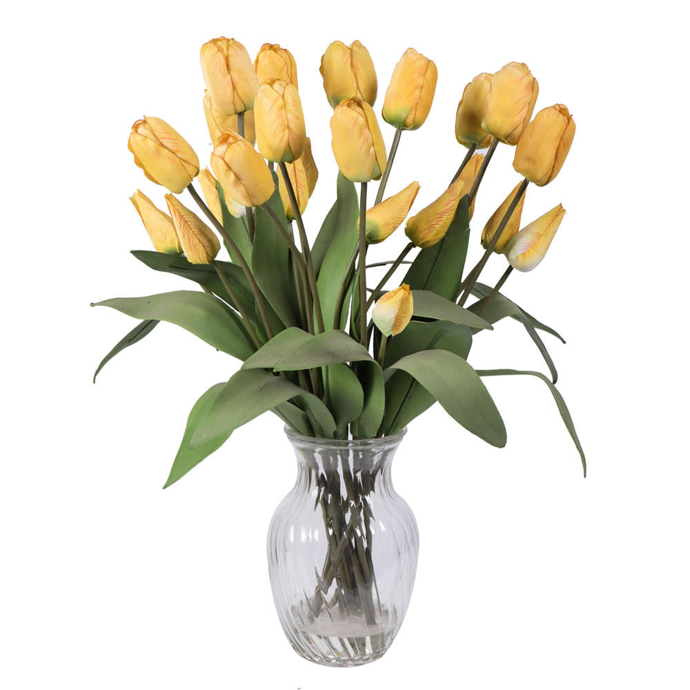 """Vickerman 21"""" Tulip Arrangement with 24 Yellow Tulips Arranged in Glass Vase with Acrylic Water"""