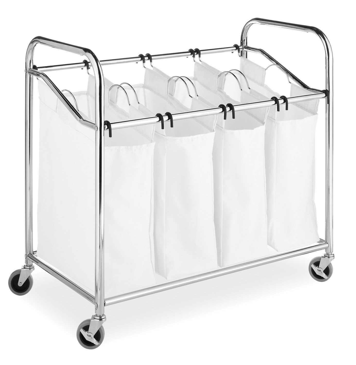 4 Bag Laundry Sorter Wheels Black Laundry Hamper Sorter with Hanging Bar Large Capacity Rolling Laundry Cart Laundry Organizer for Clothes Storage Removable Bags