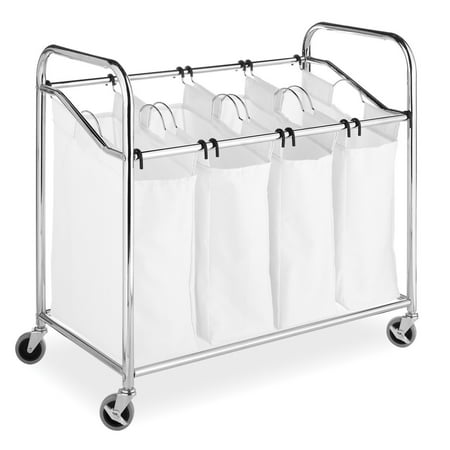 - Whitmor 4-Section Laundry Sorter with Wheels Chrome & White