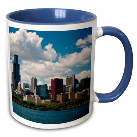 3dRose Illinois, Chicago skyline and Lake Michigan summer day - Two Tone Blue Mug, 11-ounce