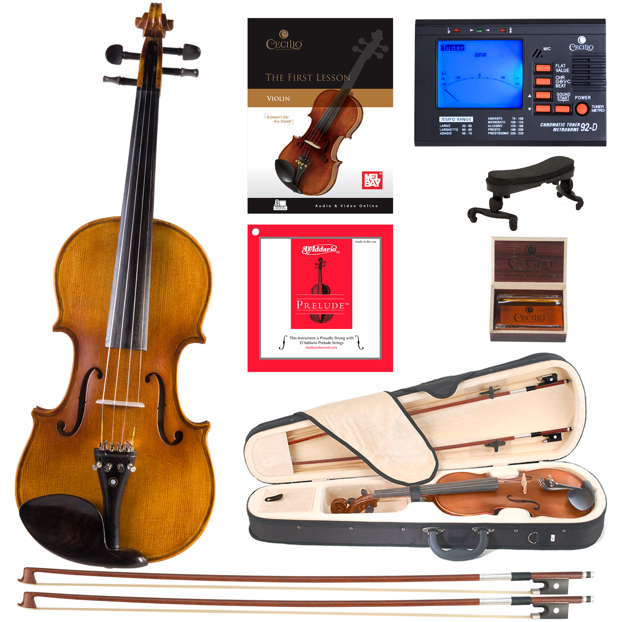 Cecilio Full Size 4 4 CVN-500 Ebony Fitted Flamed Solid Wood Violin with D'Addario Prelude... by Cecilio Musical Instruments
