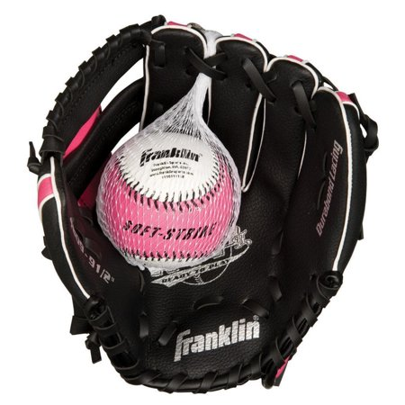 Franklin Sports  9.5-inch Black/ Pink PVC Right Handed Baseball Glove 1/2 Inch Ball Glove