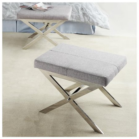 ModHaus Modern Gray Fabric Upholstered and Chrome X Base Accent Bench Stool Ottoman Footrest Includes Living (TM) (Chrome Footrest)