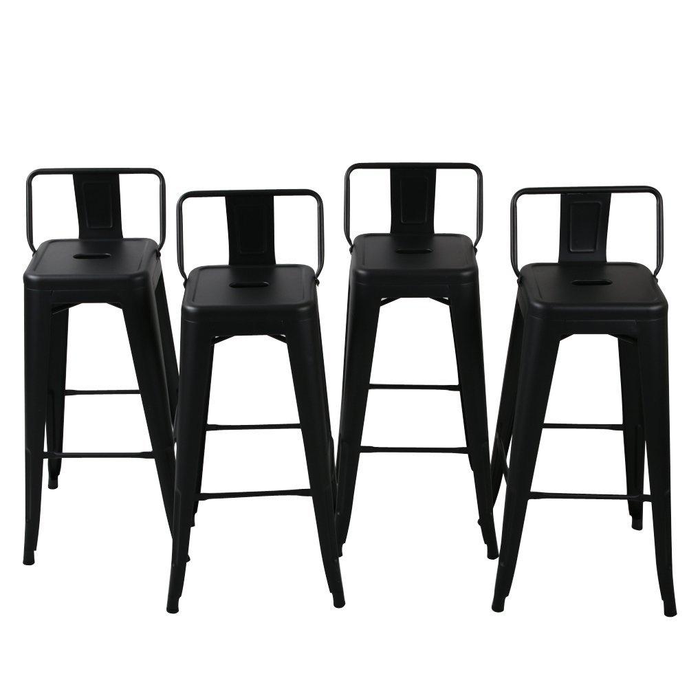 Belleze Barstools Black Bar Stools Low Back Set Of 4 30 Inch