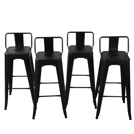 Belleze Barstools Black Bar Stools Low Back Set Of 4 30 Inch