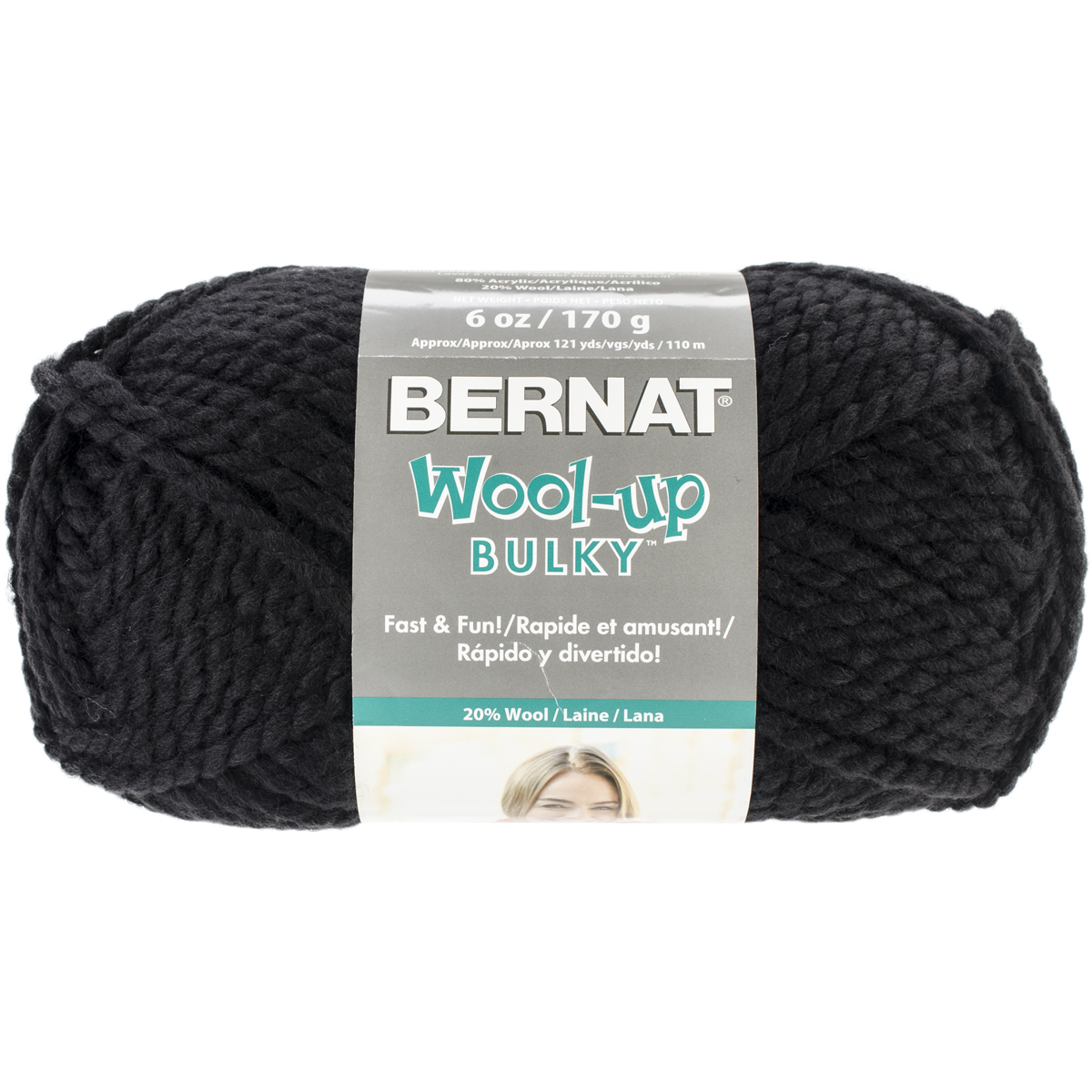 Spinrite Wool-Up Bulky Yarn, Black Multi-Colored