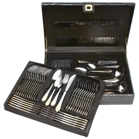 Sterlingcraft® High-Quality, Heavy-Gauge Stainless Steel 72pc Flatware and Hostess Set with Gold -