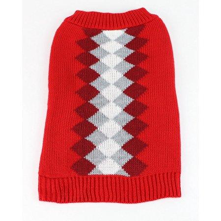 Midlee Argyle Dog Sweater (Large, Red) (Red Argyle Dog Sweater)