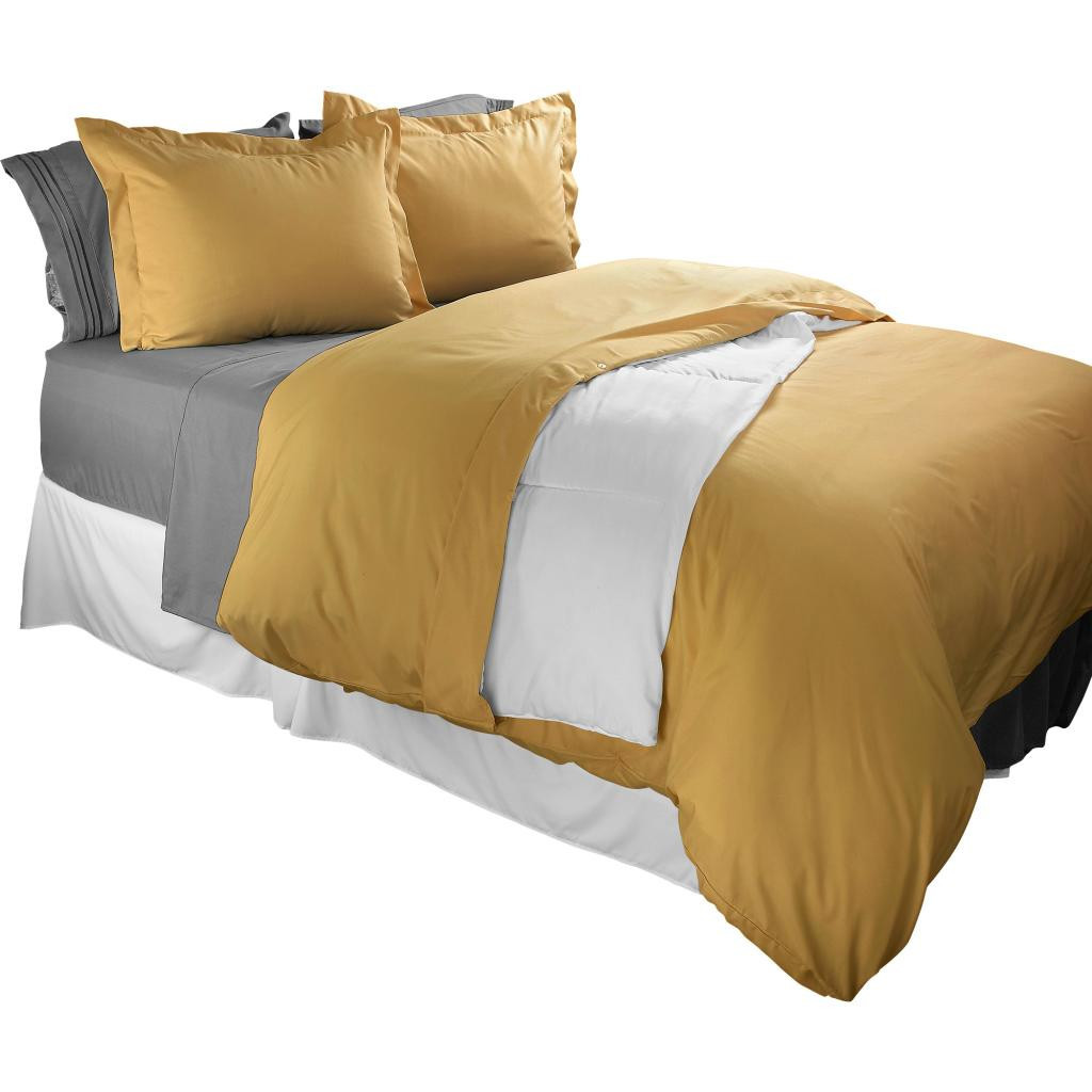 Clara Clark 1800 Series Duvet Cover Set 3pc - Includes 2 Pillow Shams Full Size, Camel Gold