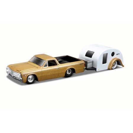 1967 Chevy El Camino pick up w/ trailer, Gold - Maisto 15368ELC - 1/64 Scale Diecast Model Toy Car (Chevy El Camino Model)