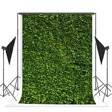 HelloDecor Polyster 5x7ft St. Patrick's Day Photography Backdrops Green Leaves Background for Photo Studio Birthday Party Decoration Backgrounds Photo Booth Props Backdrop - Photo Decorations For Parties