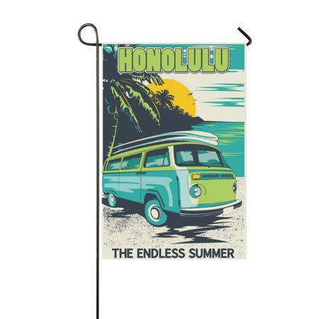 MYPOP Honolulu Summer Beach Bus Garden Flag House Banner 12 x 18 inch ()