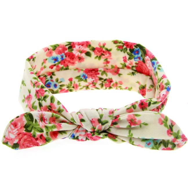 Outtop Baby Rabbit Ears Elastic Flowers Bowknot Headband YE