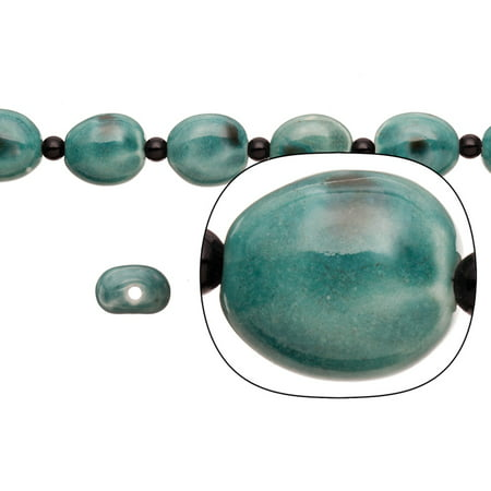 Porcelain Beads Oval Dome Teal 17.5x19mm 08pcs