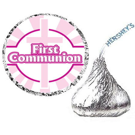 216ct Holy Communion Pink/Pink Party Hershey's Kisses Stickers / - Holy Communion Tableware
