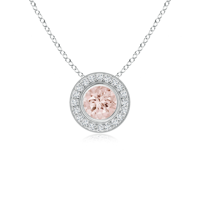 Bezel-Set Morganite Pendant Necklace with Diamond Halo in 950 Platinum (6mm Morganite) SP0727MGD-PT-AA-6 by Angara.com