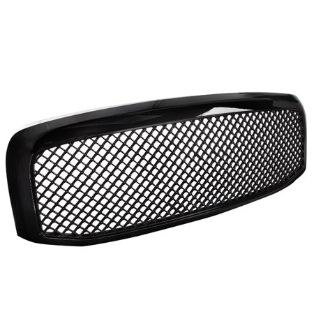 Spec-D Tuning For 2006-2008 Dodge Ram 1500 2500 3500 Abs Front Hood Mesh Glossy Black Grille 2006 2007 2008