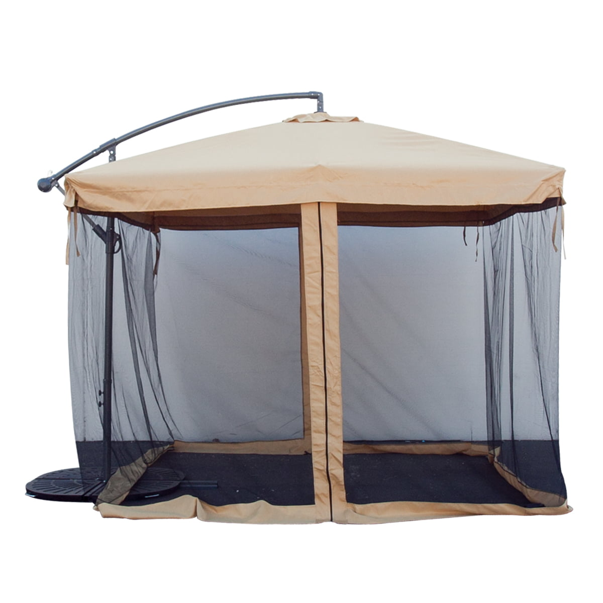 Apontus Offset Tan Patio Umbrella Instant Gazebo With Mesh Netting