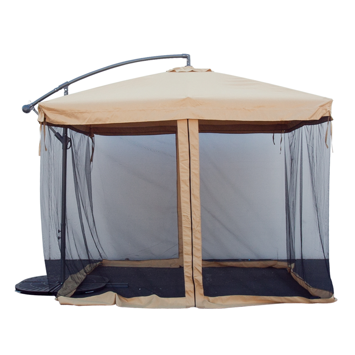 Merveilleux Apontus Offset Tan Patio Umbrella Instant Gazebo With Mesh Netting    Walmart.com