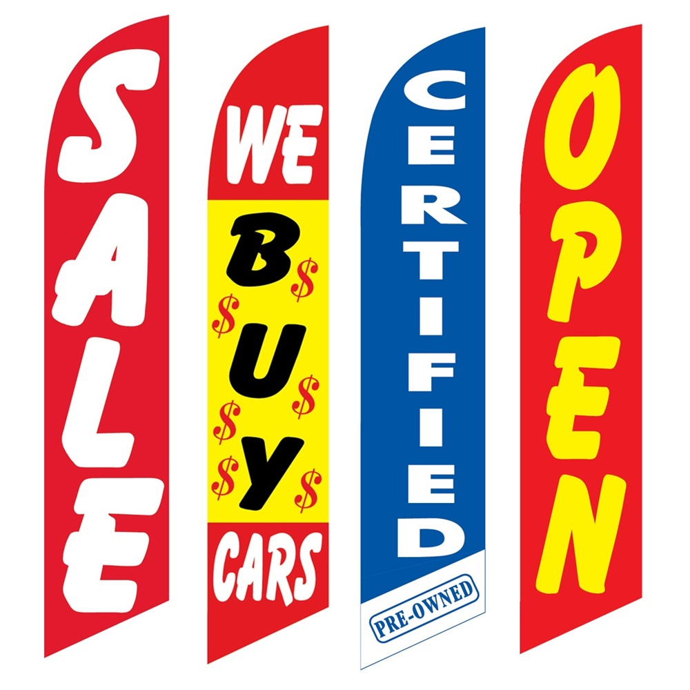 4 Advertising Swooper Flags Sale We Buy Cars Certified Pre Owned Open