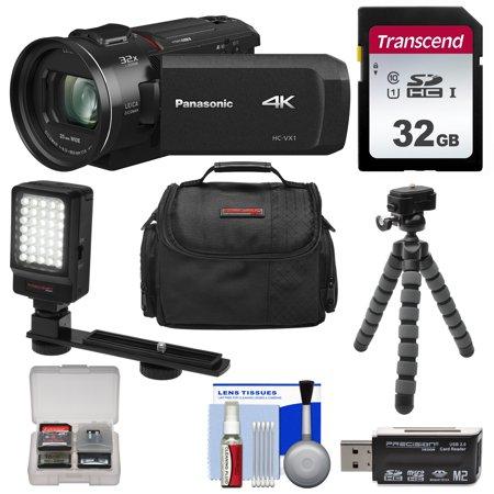 Panasonic HC-VX1 Wi-Fi 4K Ultra HD Video Camera Camcorder with 32GB Card + LED Light + Case + Tripod +