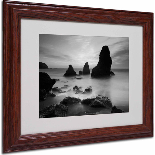 "Trademark Fine Art ""Rodeo Beach I Black and White"" Matted Framed Art by Moises Levy, Wood Frame"
