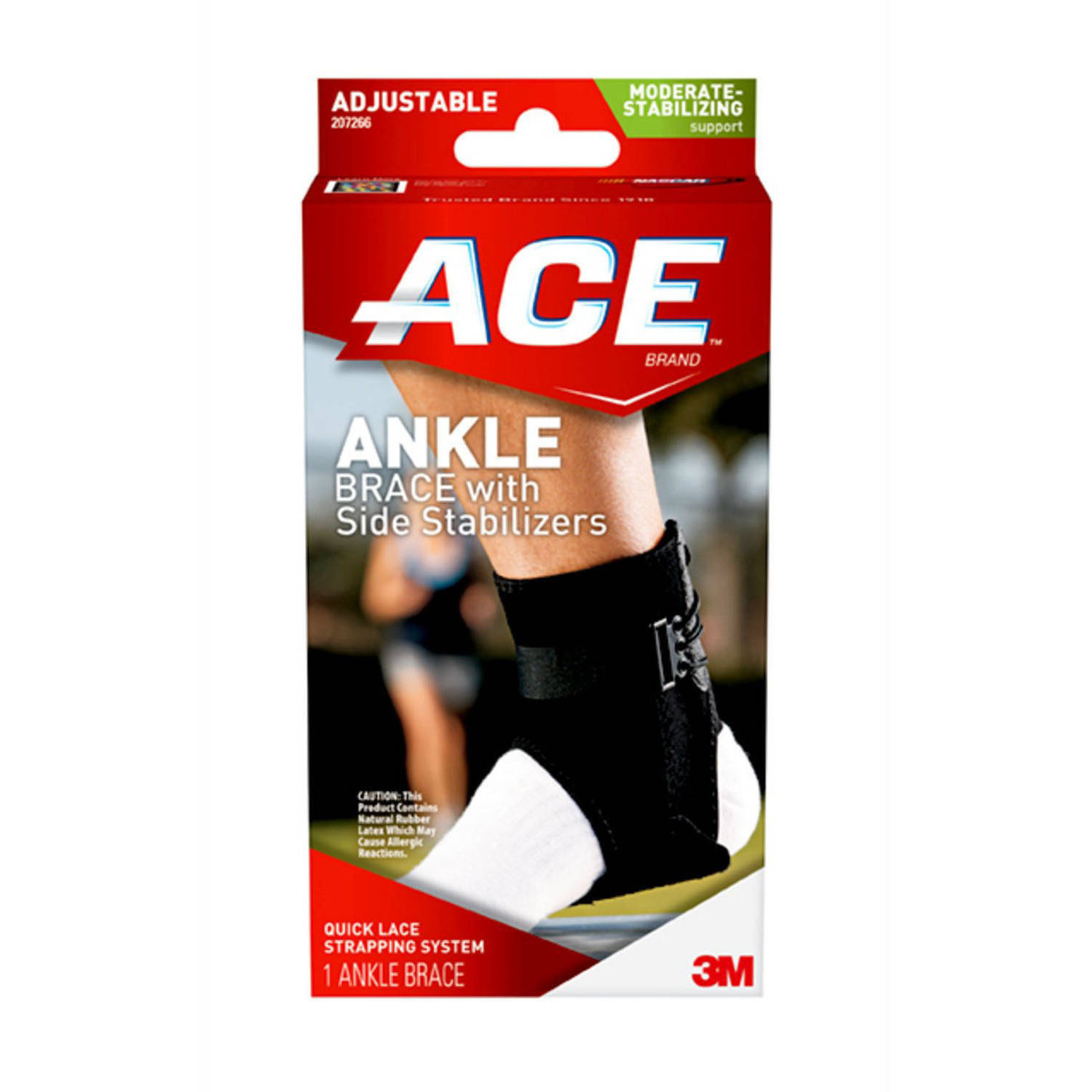 ACE Brand Ankle Brace with Side Stabilizers, One Size, Adjustable