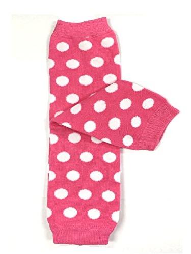 ALLYDREW Stripes, Polka Dots & Chevron Baby Leg Warmer & Toddler Leg Warmer for Boys & Girls, Pink & White Polka Dots