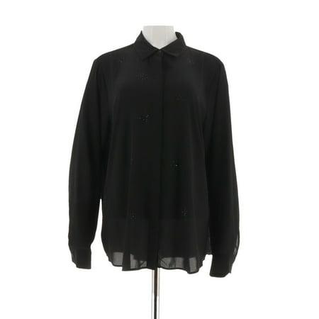 Joan Rivers Crystal Burst Button Front Shirt A298058