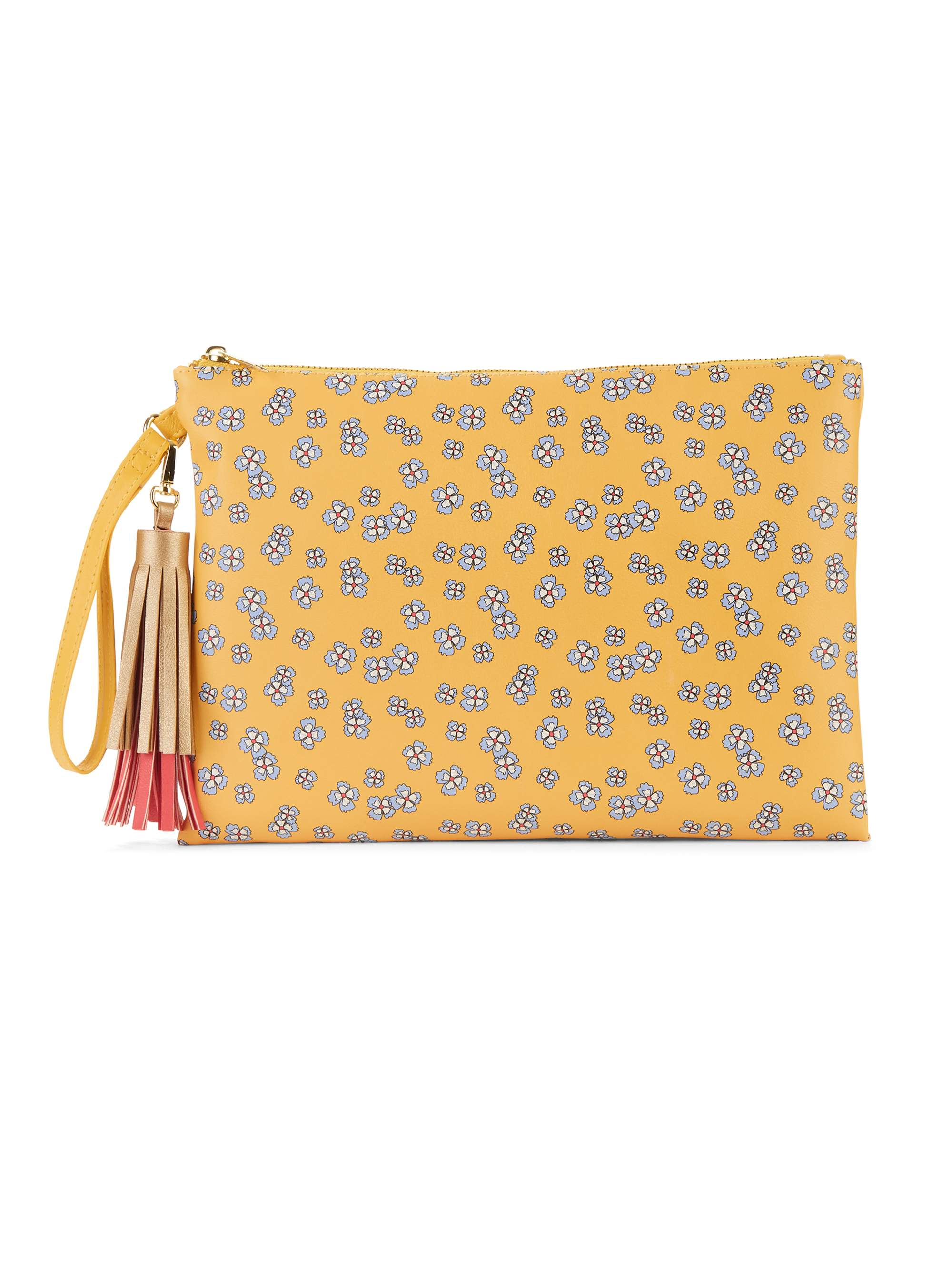 No Boundaries Yellow Ditsy Floral Wristlet Tassel Pouch