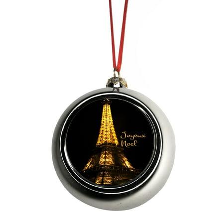 Paris Christmas Ornament.Eiffel Tower Paris France Lit Up Joyeux Noel Bauble Christmas Ornaments Silver Bauble Tree Xmas Balls