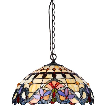 """Chloe Lighting Cooper Tiffany-Style 2-Light Victorian Ceiling Pendent Fixture with 18"""" Shade"""