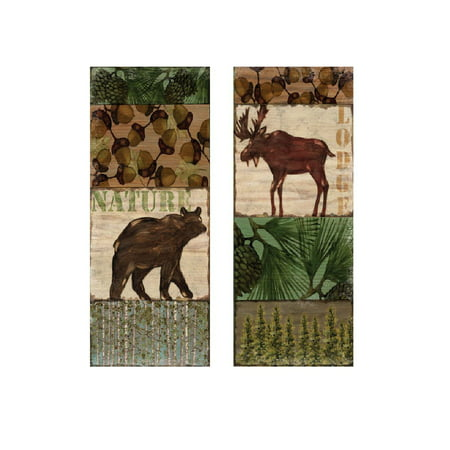 Moose Trail Lodge - Nature Trail Moose & Bear Lodge Prints (Two 8x20in Posters)