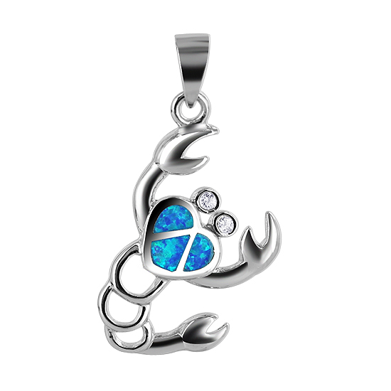 925 Sterling Silver Created Opal 18mm x 23mm Lobster Pendant with heart shape