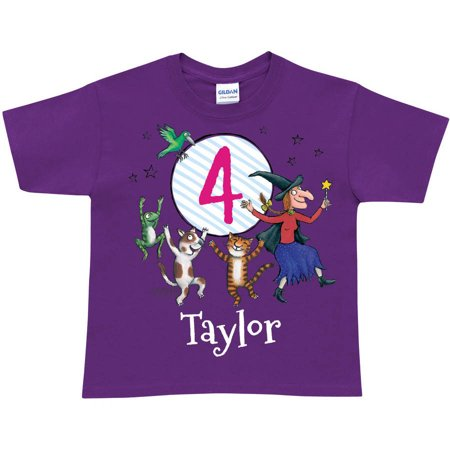 Personalized Room on the Broom Birthday Age Toddler Girl Purple T-Shirt (Girl Dancing With Broom)