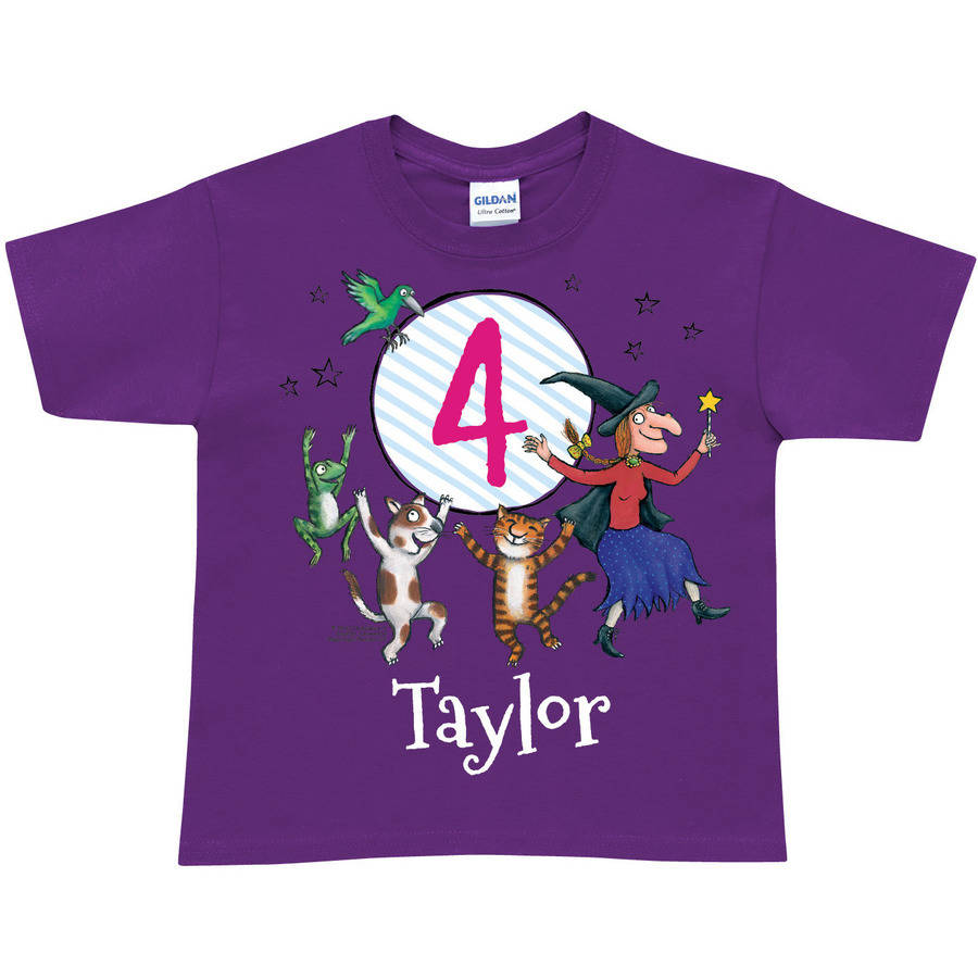 Personalized Room on the Broom Birthday Age Toddler Girl Purple T-Shirt