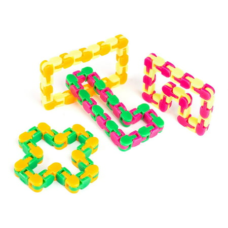 Snappy Tracks Snap and Click Fidget Toys For Sensory Kids - Snake Puzzles 4 Pack Assorted (Snap Cubes)