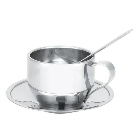 Tebru Stainless Steel Insulated Coffee Cup Double Wall Tea Milk Mug with Saucer Spoon Set Tableware, Double Wall Coffee Cup, Coffee Cups Tableware Edge Tea Saucer