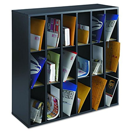 - Safco Products 7765BL Wood Mail Sorter, 18 Compartment, Black