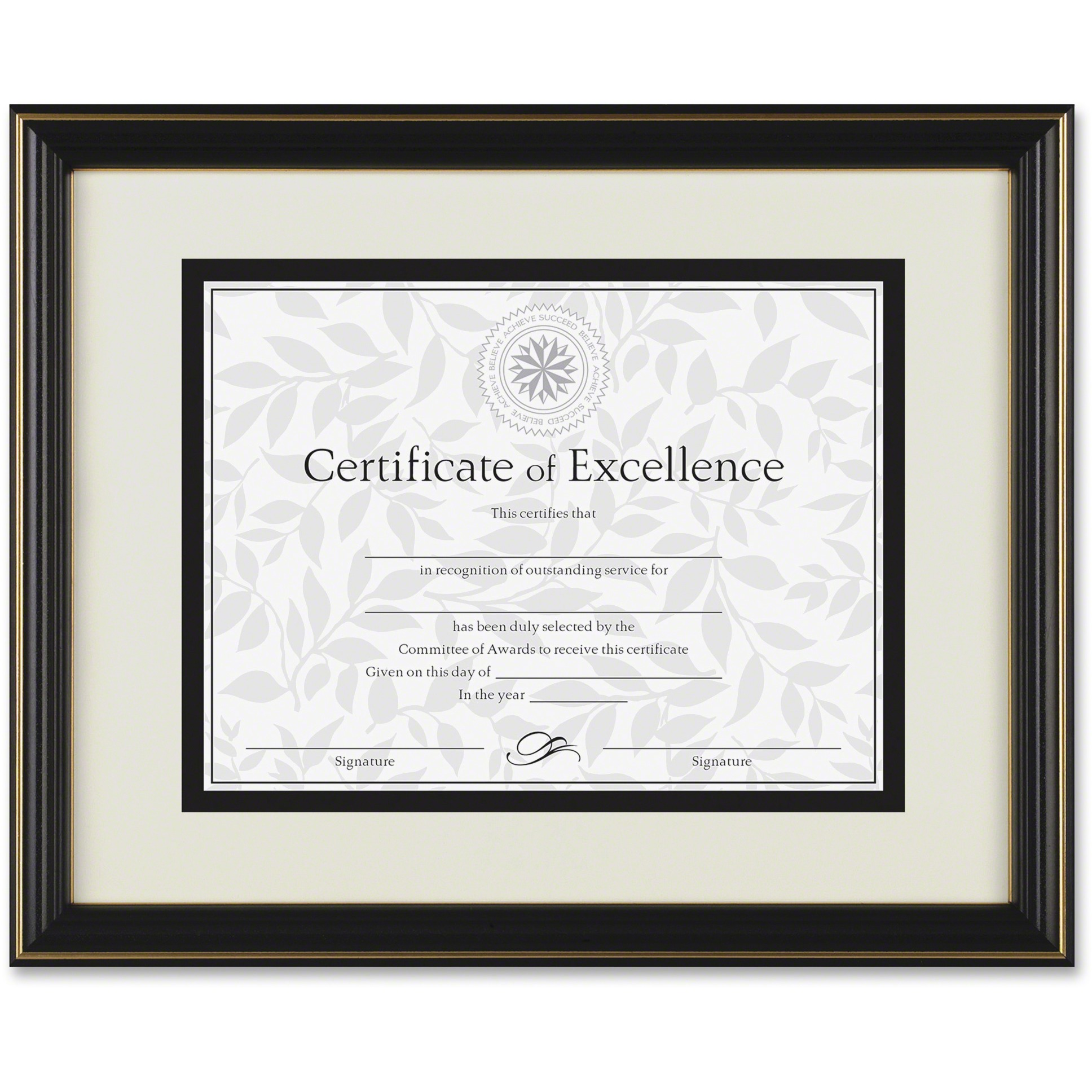 DAX Gold-Trimmed Document Frame, Wood, 11 x 14, 8 1/2 x 11, Black