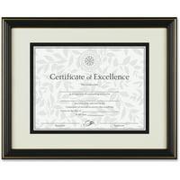 DAX Gold-Trimmed Document Frame, Wood, 11 x 14, 8 1/2 x 11, Black
