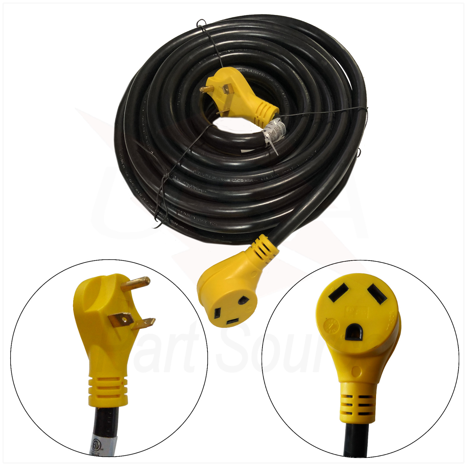 25 Foot RV Extension Cord 30 Amp Power Supply Cable for Trailer Camper Motorhome