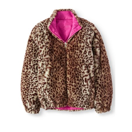 Fur Collar Bomber - BHIP Reversible Leopard Faux Fur Bomber Jacket (Little Girls & Big Girls)