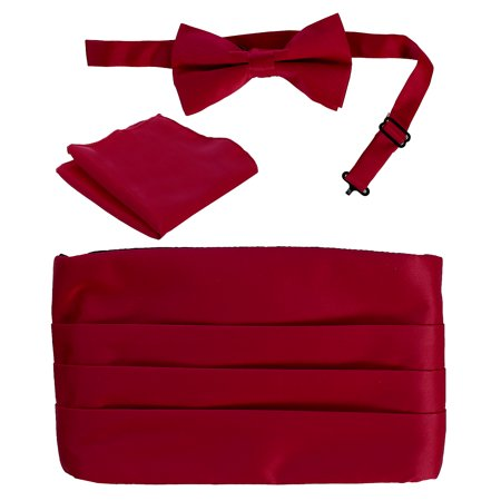 - Men's Satin Formal Bow Tie, Pocket Square, and Cummerbund Set