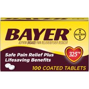 Genuine Bayer Aspirin Pain Reliever / Fever Reducer 325mg Coated Tablets, 100 Ct