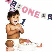 Ahoy Nautical Girl - 1st Birthday Girl Smash Cake Kit - High Chair Decorations