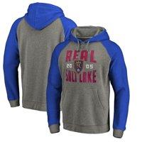 Real Salt Lake Fanatics Branded Antique Stack Tri-Blend Raglan Pullover Hoodie - Heathered Gray