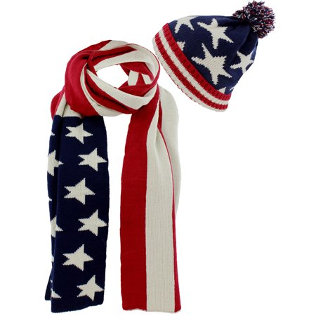 American Flag Knit Red White Blue Scarf and Beanie Hat (Explain The Red Scare In America After Ww1)